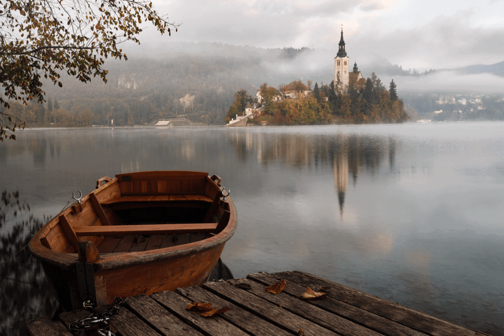 Lake Bled with the island church in the distance