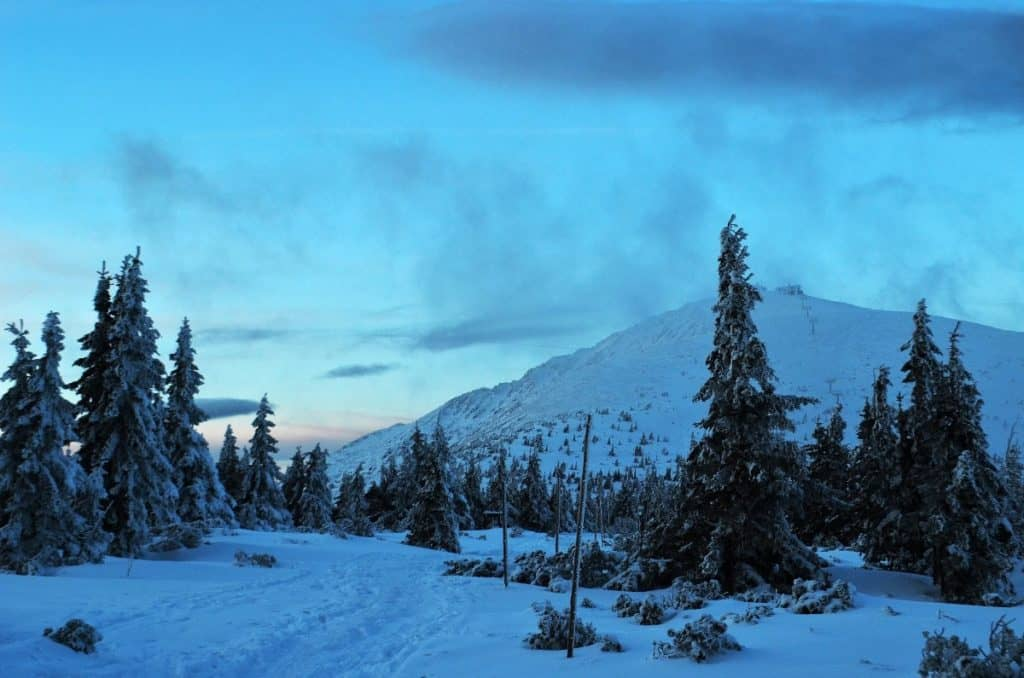 Snow Mountain in the Czech Republic, covered in snow